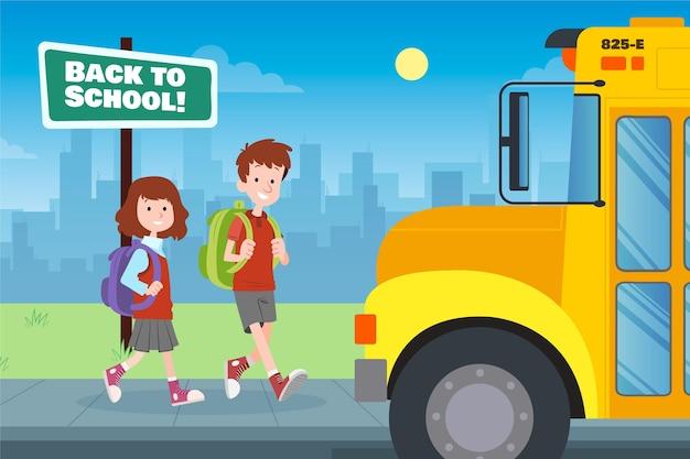 Dzieci z powrotem do szkoły rysowane ręcznie