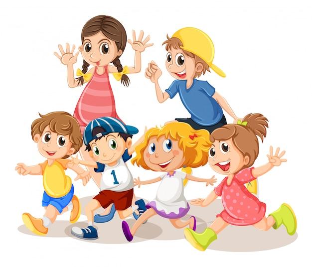 Dzieci z radosną buźką