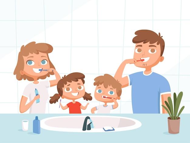 Dzieci z rodzicami do mycia. szczotka do zębów umywalka toaleta codzienna higiena jamy ustnej kreskówka rodzina.