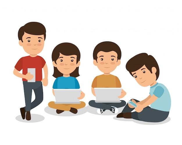Dzieci z technologią edukacji na smartfonach i laptopach