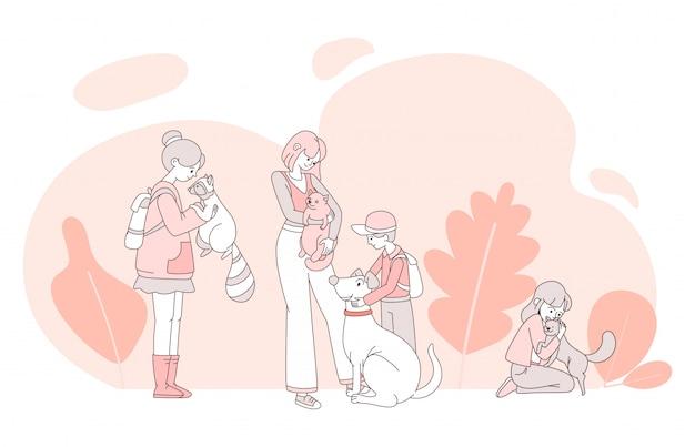 Dzieci z zwierzęta domowe kreskówki ilustracją. przyjazne zwierzaki ze swoimi właścicielami zarys koncepcji.