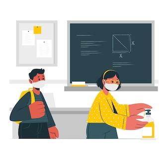 Dzieci za pomocą środka dezynfekującego do rąk na ilustracji koncepcji szkoły