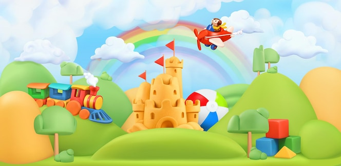 Dzieci zabawki krajobraz ilustracja 3d