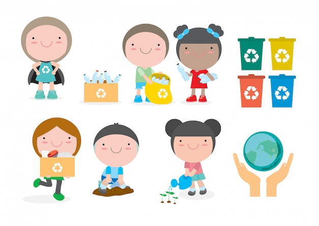 Dzieci zbierają śmieci do recyklingu, ilustracja dzieci segregujących śmieci, recykling śmieci, ocal świat, ocal ziemię, chłopiec sadził młode drzewa. dziewczyna podlewania kwiatów z konewki.