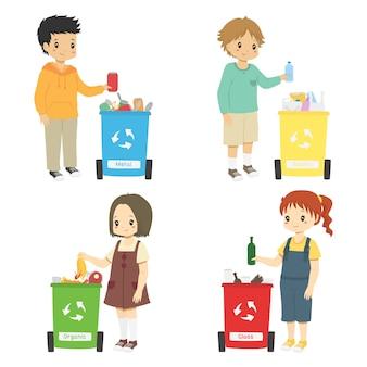 Dzieci zbierają śmieci do recyklingu. zestaw do sortowania śmieci