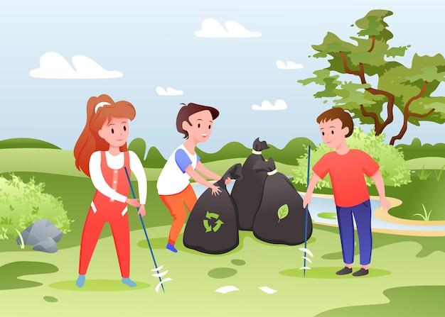 Dzieci zbierają śmieci, dzieci pracują. grupa kreskówek dzieci chłopca i dziewczynki sortuje śmieci plastikowe lub papierowe, zbiera śmieci w workach, sprzątanie parku miejskiego