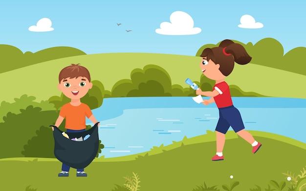 Dzieci zbierają śmieci śmieci czysta natura uroczy wolontariusz chłopiec dziewczyna sprzątająca zielony park