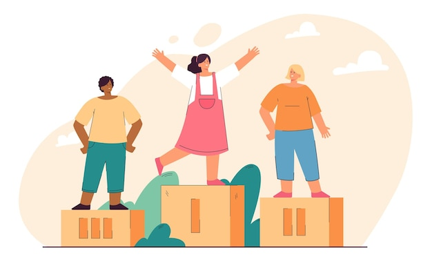 Dzieci zdobywające nagrody i stojące na podium. płaska ilustracja