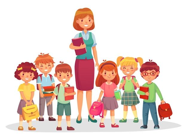 Dzieci ze szkoły podstawowej z uśmiechniętym nauczycielem