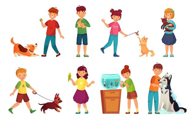 Dzieci ze zwierzętami. żartuje przytulenia zwierzęcia domowego, dziecko miłości zwierząt i bawić się z psim lub ślicznego kota kreskówki ilustraci wektorowym setem