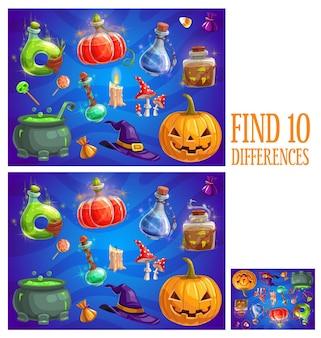Dzieci znajdują dziesięć różnic halloweenowa gra logiczna