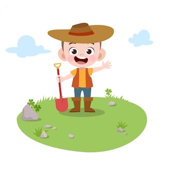Dzieciak bawić się ogrodnictwo w ogrodowej wektorowej ilustraci