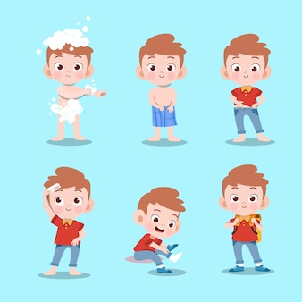 Dzieciak bierze kąpielową wektorową ilustrację odizolowywającą