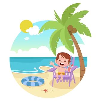 Dzieciak chłopiec bawić się na plażowej ilustraci
