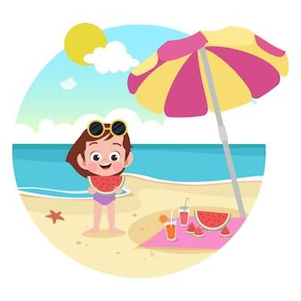 Dzieciak dziewczyna bawić się na plażowej ilustraci