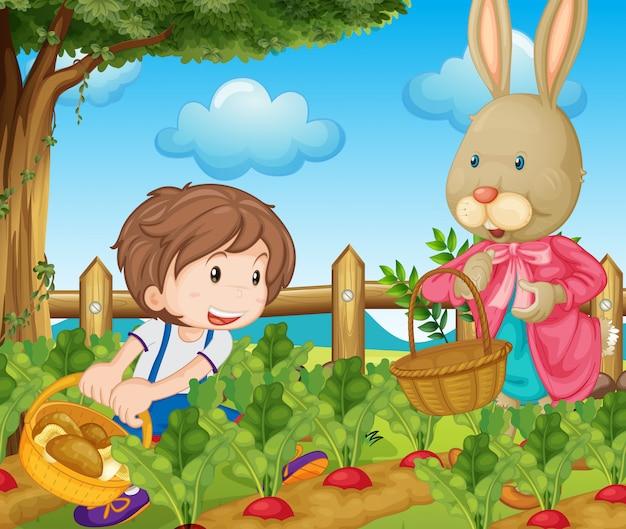 Dzieciak i królik zbierający warzywa