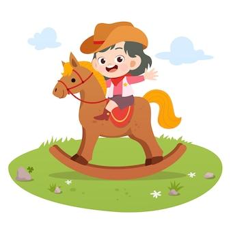Dzieciak jazda konna wektorowa ilustracja odizolowywająca