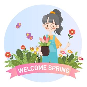 Dzieciak ogrodnictwo wiosna