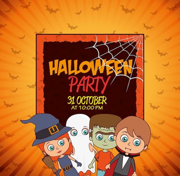Dzieciak plakat impreza z okazji halloween