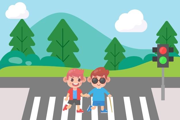 Dzieciak pomagać niewidomemu przyjacielowi na skrzyżowaniu