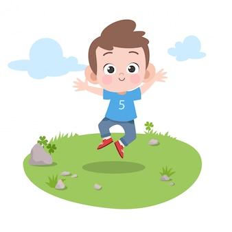 Dzieciak skacze w ogrodowej wektorowej ilustraci