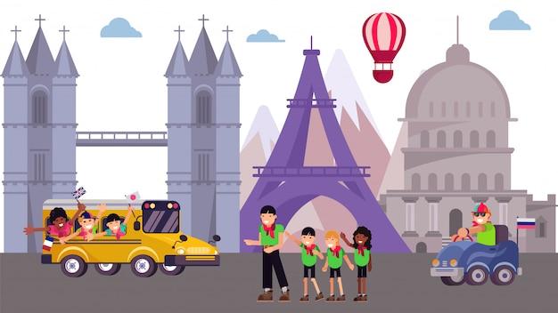 Dzieciak wycieczki obóz przy zwiedzającym wycieczki turysycznej miejscem, ilustracja. lato turystyka wycieczka kreskówka wakacje na tle świata.
