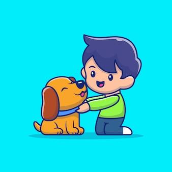 Dzieciak z psem ilustracją. postać z kreskówki maskotka miłośnika zwierząt. płaski styl kreskówek
