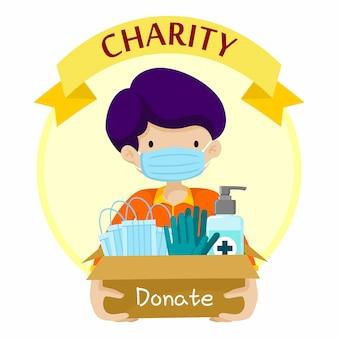 Dzieciak z pudełkowatej charytatywnej darowizny projekta płaską ilustracją