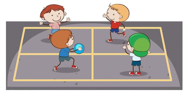 Dzieciaki bawią się ręki piłkę na białym tle