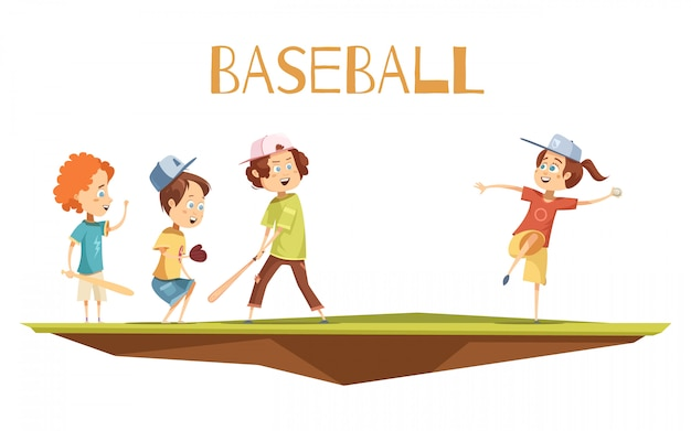 Dzieciaki bawić się baseball płaską ilustrację w kreskówka stylu z ślicznymi charakterami angażującymi w grą