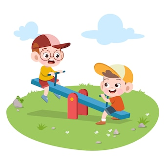 Dzieciaki bawić się boisko ilustrację