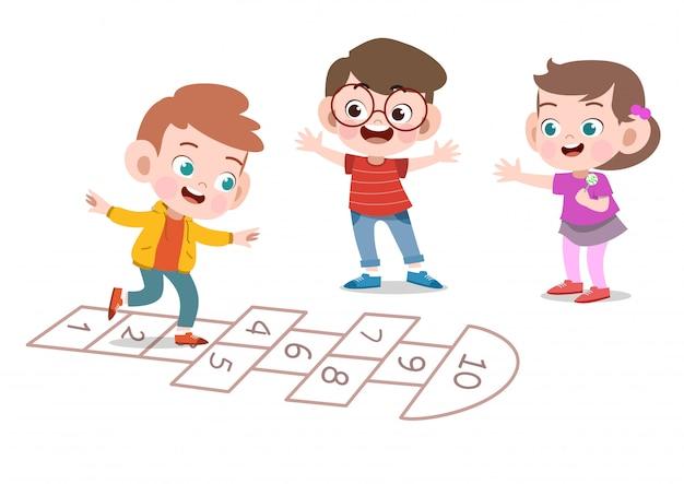 Dzieciaki bawić się wpólnie wektorową ilustrację odizolowywającą