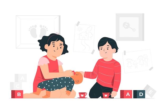 Dzieciaki bawić się z lali pojęcia ilustracją