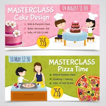 Dzieciaki gotuje horyzontalnych sztandary ustawiających dwa kreskówek przedstawienia wystawiają rachunek pizzę i tort z editable teksta wektoru ilustracją