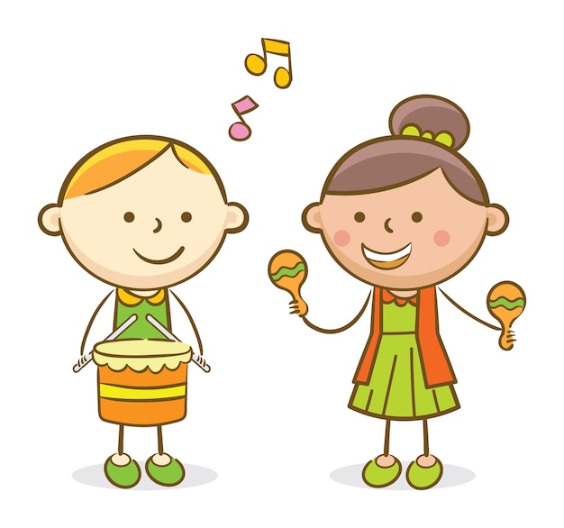 Dzieciaki grające na bębnie i puzonie
