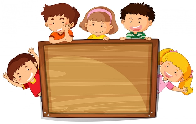 Dzieciaki na drewnianej desce