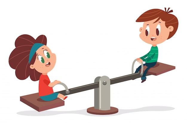 Dzieciaki na drewnianej huśtawce. kreskówki ilustracja śliczny chłopiec i dziewczyna bawić się na huśtawce odizolowywającej na białym tle.