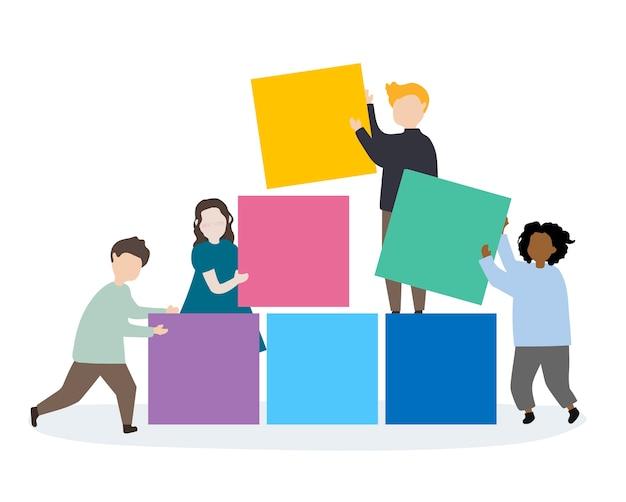 Dzieciaki trzyma kolorowych bloków ilustracyjnych