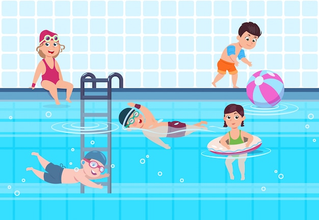 Dzieciaki w pływackiego basenu ilustraci. chłopcy i dziewczęta w strojach kąpielowych bawią się i pływają w wodzie. szczęśliwe dzieciństwo koncepcja lato wektor