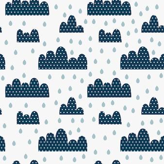 Dzieciaków bezszwowy wzór z chmurami w kropkach, kroplach i deszczu.