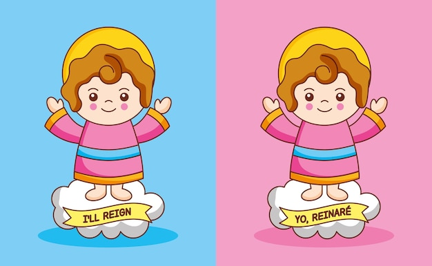 Dzieciątko jezus na chmurze, ilustracja kreskówka
