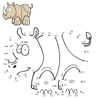 Dziecięca gra kropka-kropka rhino