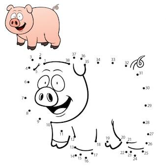 Dziecięca gra kropka-kropka świnia