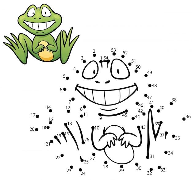 Dziecięca gra kropka-kropka żaba