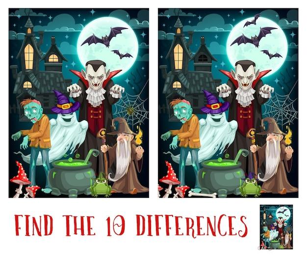 Dziecięca gra o różnice z potworami na halloween