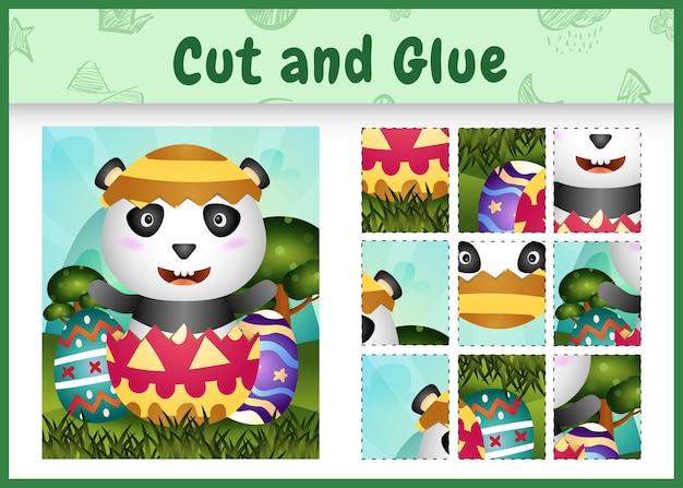Dziecięca gra planszowa wycinana i przyklejana tematycznie wielkanocna panda w jajku