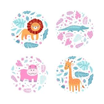 Dziecięce nadruki z żyrafą, hipopotamem, krokodylem, lwem i liśćmi w okrągłych kształtach. postacie dziecięce na ubrania, koszulka z nadrukiem, naklejki, zaproszenie, opakowanie. ilustracja wektorowa