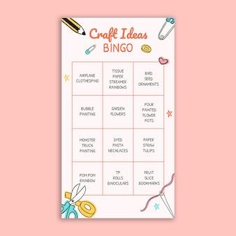 Dziecięce pomysły na rękodzieło bingo historia na instagramie