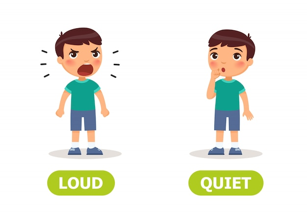 Dziecięce przeciwieństwa głośno i cicho