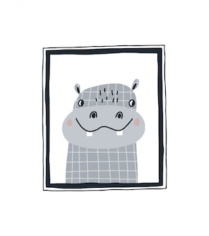 Dziecięcy nadruk z uroczym hipopotamem w ramce. ręcznie rysowane ilustracji wektorowych w stylu skandynawskim dla dzieci.